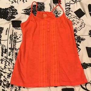 SO Lace Button Tank Top